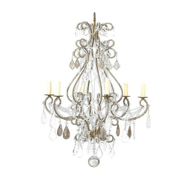 Italian Neoclassical Style Glass Rock Crystal And Gilt Iron 8 Light Chandelier