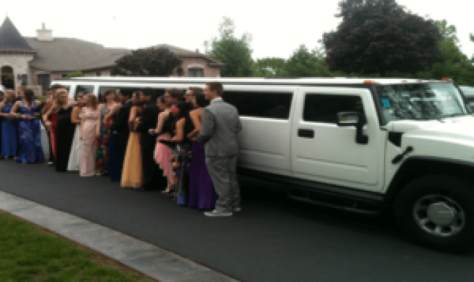 group of friends limo trip