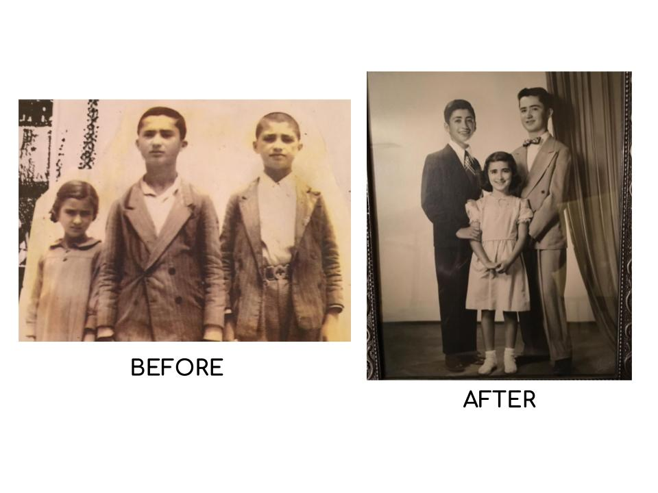 The family before and after their arrival in America.