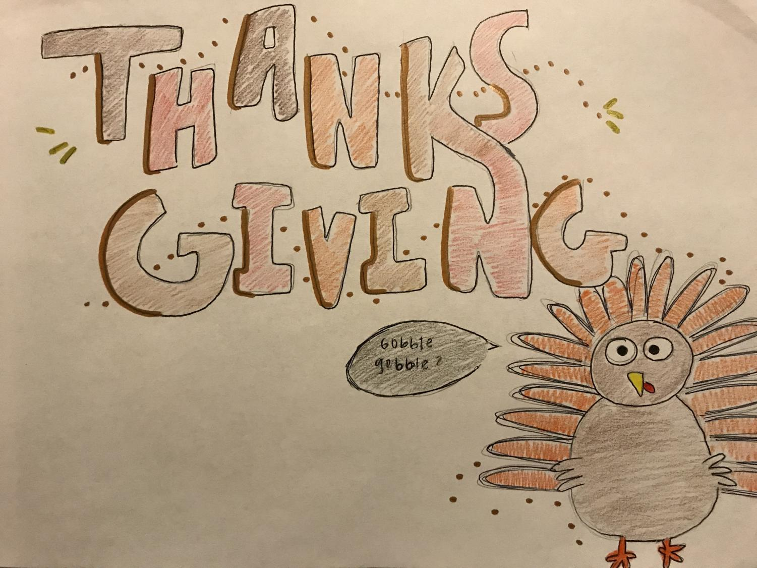 A Thanksgiving drawing with a cartoon of a turkey.