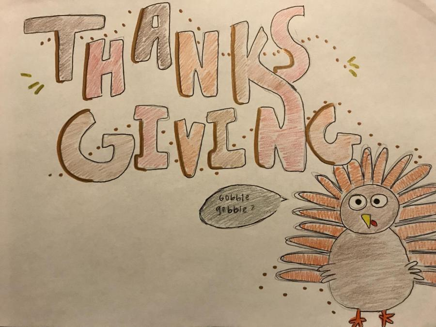 A+Thanksgiving+drawing+with+a+cartoon+of+a+turkey.
