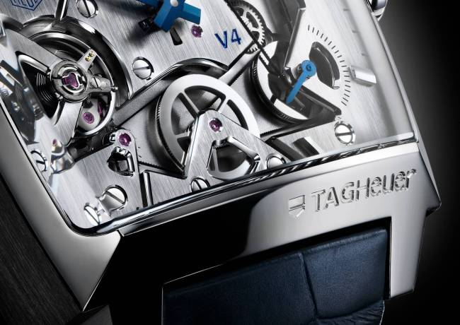 Tag-Heuer Monaco V4 mens watch close-up of the drive belts