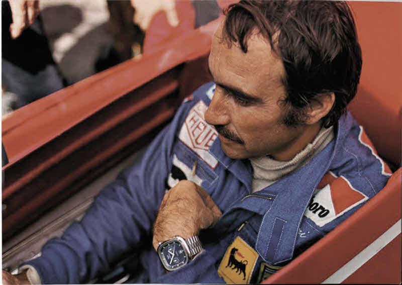 Formula 1 Driver Clay Ragazzi wearing the original Heuer Watch