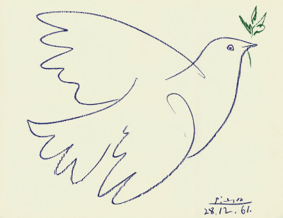Pablo Picasso's drawing fo the dove of peace