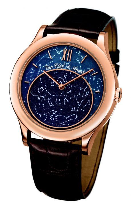 gold van cleef & Arpels watch constellations over Paris