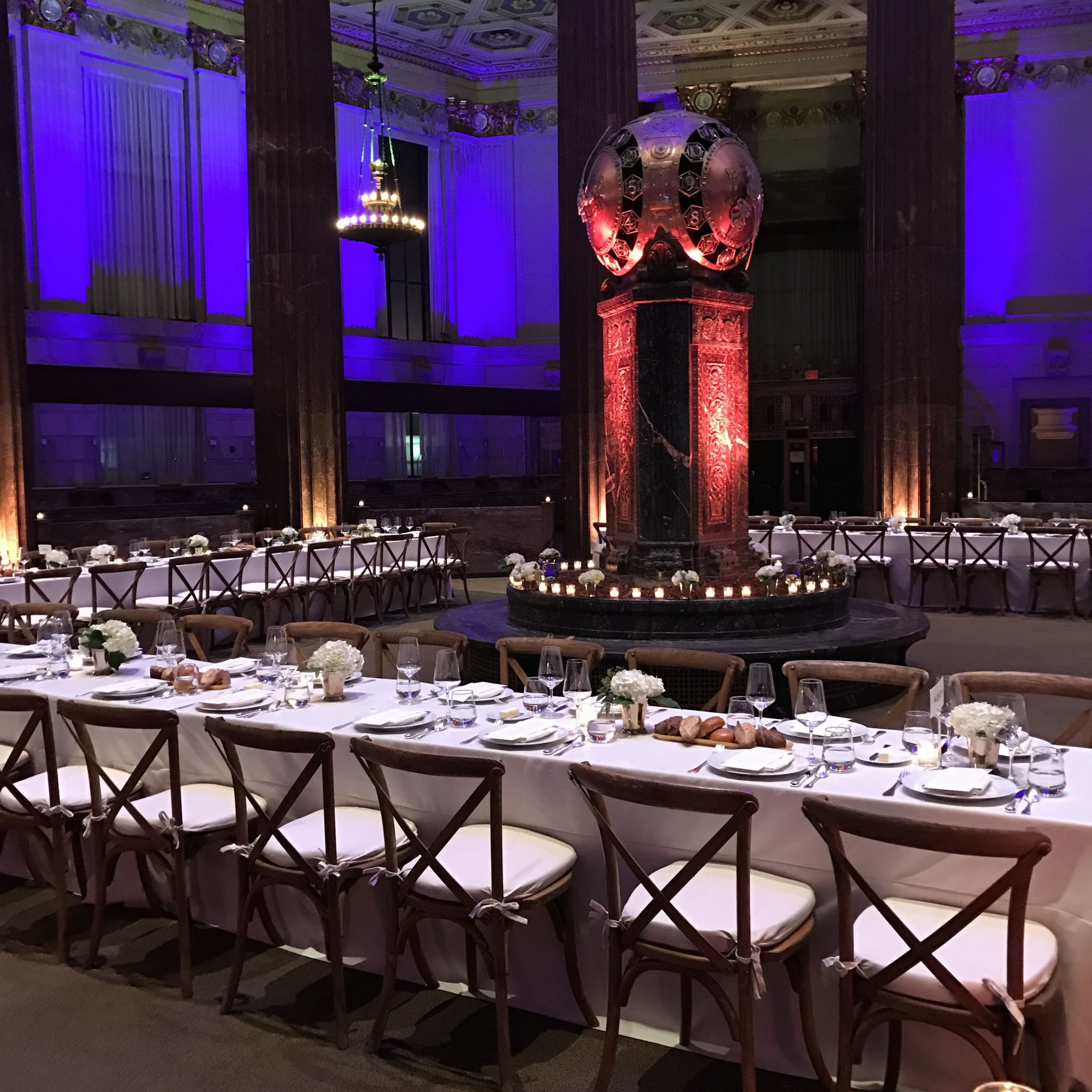 9 Dekalb ave Panerai's guests dined at tables arranged under the former DIme Savings Bank's dome.