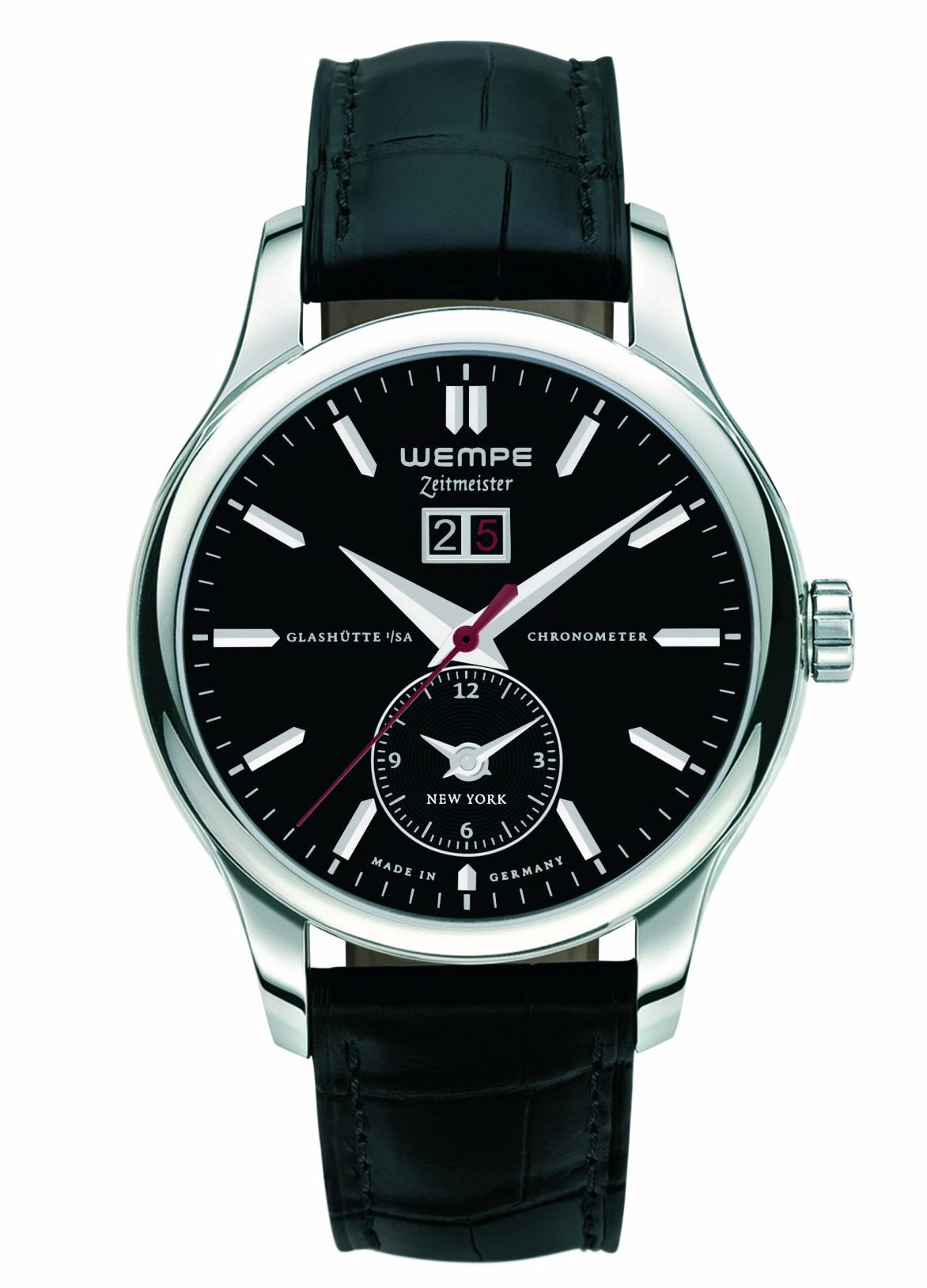The Wempe Zeitmeister 5th Avenue Limited Edition watch with black dial
