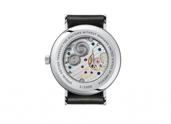 The caseback of the Nomos Glashutte Doctors WIthout Borders Limited Edition watch