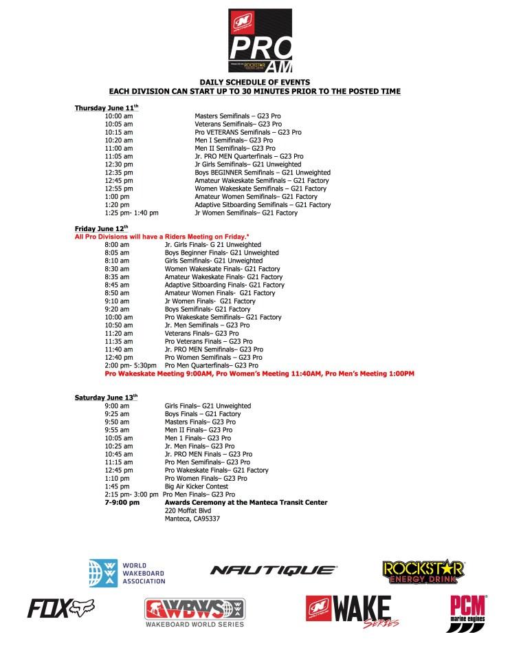 Pro Am Schedule PUBLIC