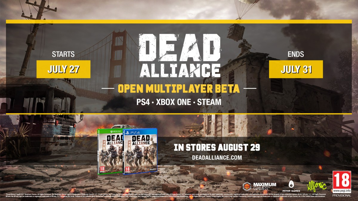Dead Alliance Multiplayer Open Beta dates announced for Xbox One, PS4 and PC