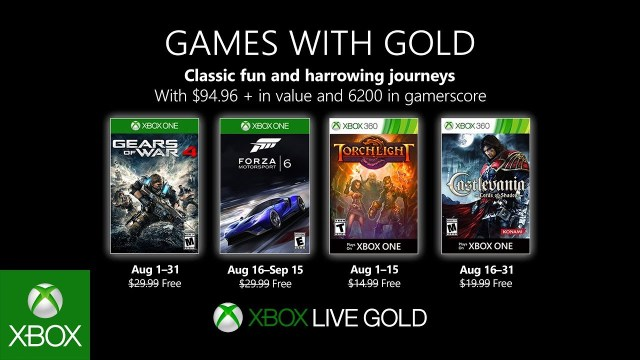 xbox games with gold august 2019