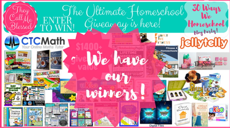 homeschool Giveaway winners