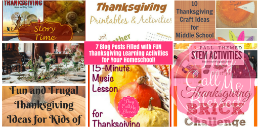 7 Blog Posts Filled with FUN Thanksgiving Learning Activities for Your Homeschool!