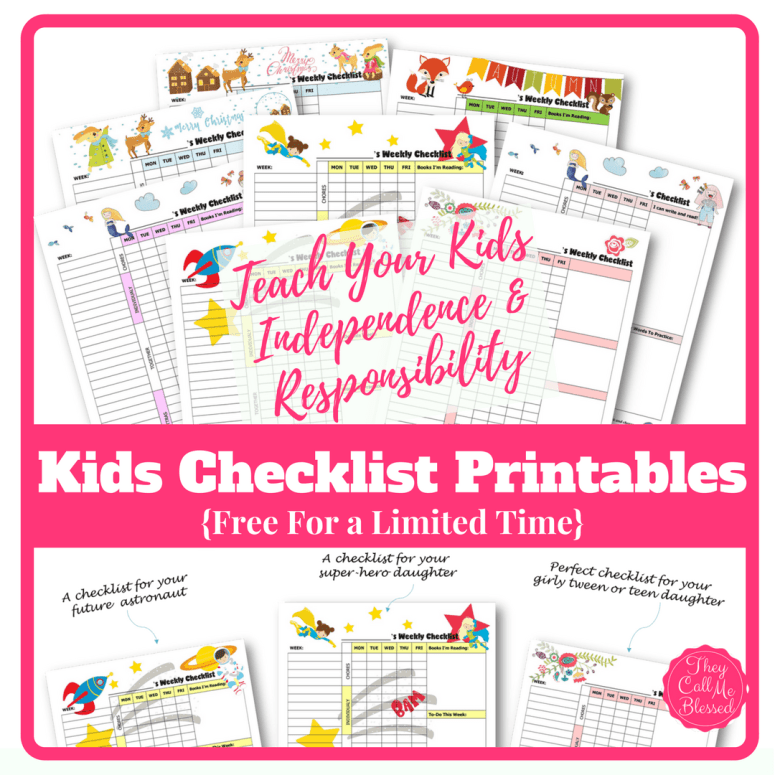 How to teach kids independence and responsibility free for Homeschool checklist template