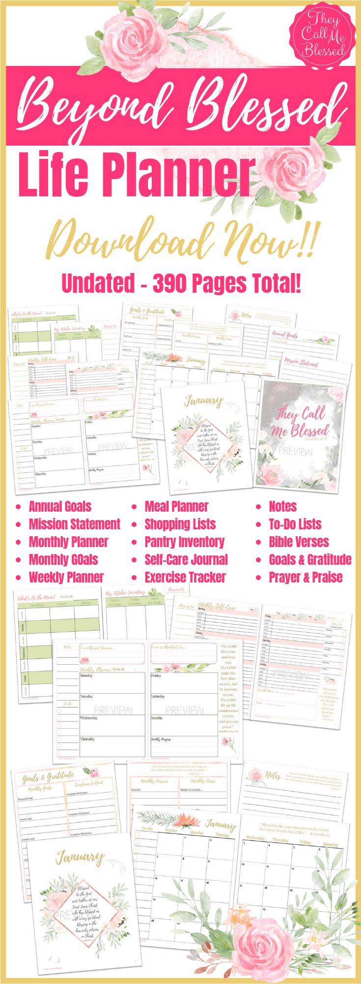 Beyond Blessed Life Planner Undated Printable