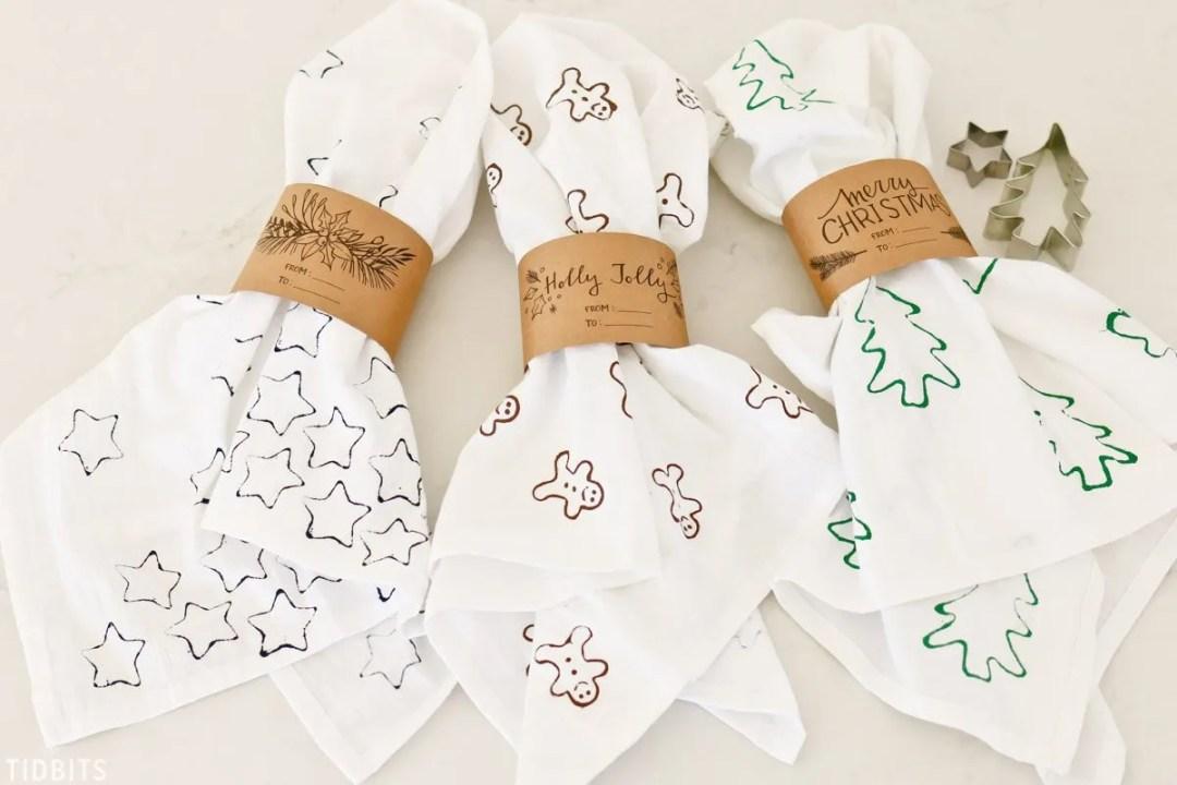 DIY cookie cutter stamped christmas tea towels