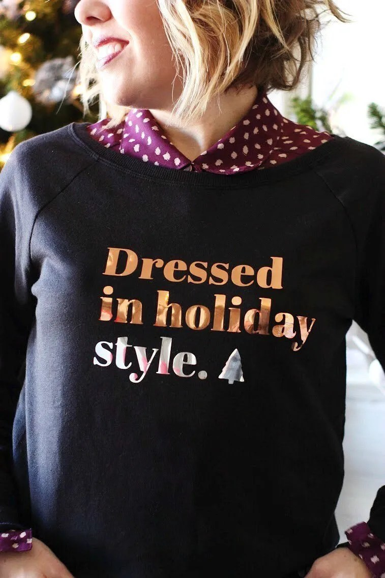Cute sweatshirt diy for a fun holiday party!
