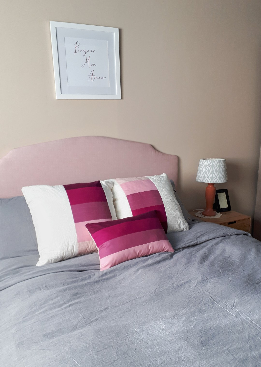 I DIY'ed these pretty throw cushions for our master bedroom makeover