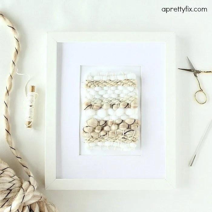 Pretty framed mini weaving DIY