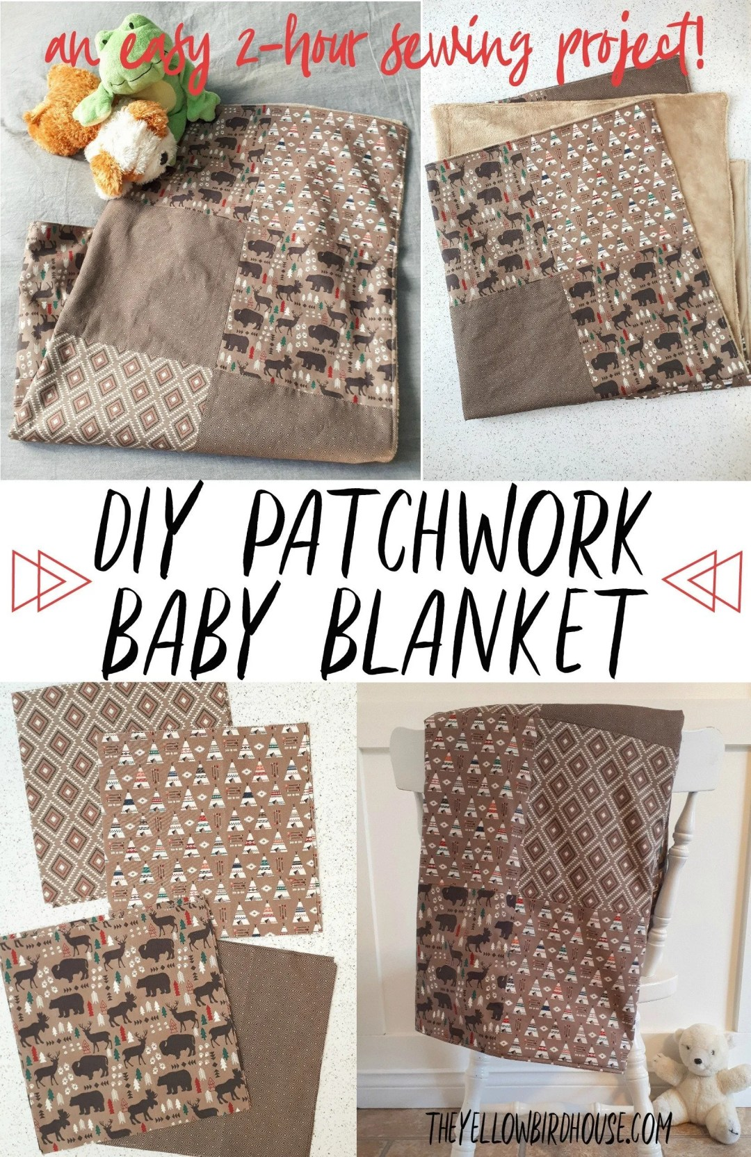 Sew a super cozy patchwork baby blanket in just 2 hours. Use 4 fat quarters and some minky fabric for this simple baby quilt tutorial. Learn how to sew this easy patchwork blanket with this free tutorial. This adorable baby quilt would be a great baby shower gift.