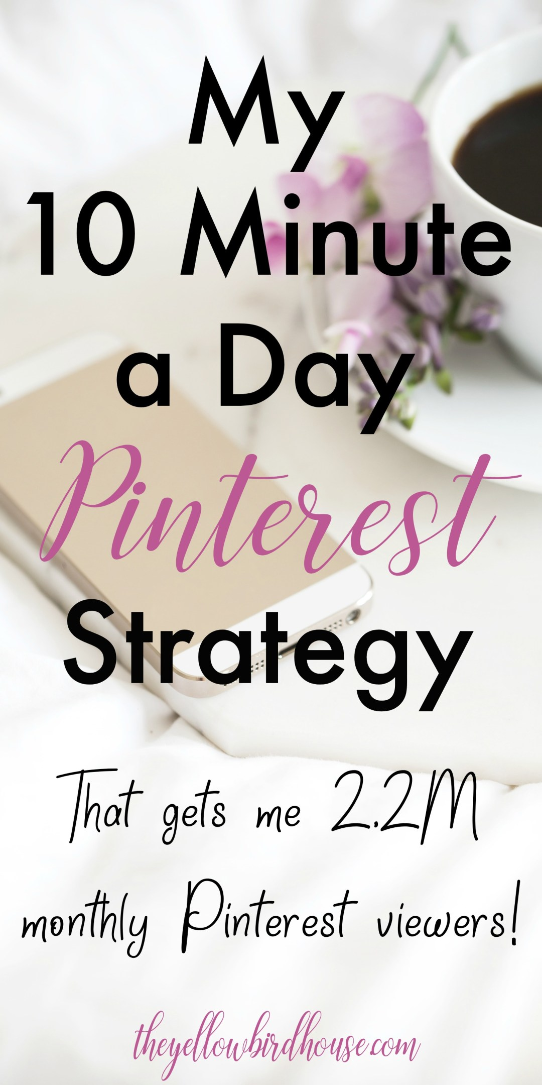 This simple Pinterest strategy only takes me 10 minutes a day and gets me 2.2 million monthly Pinterest viewers! This strategy works for manual pinning or with a scheduling tool. It's simple and it works. I rely on Pinterest for the bulk of my traffic, it is a powerful tool. But it doesn't need to take up all my time! 10 minutes a day is all I've got, and this pinning strategy is so effective that 10 minutes is all I need!