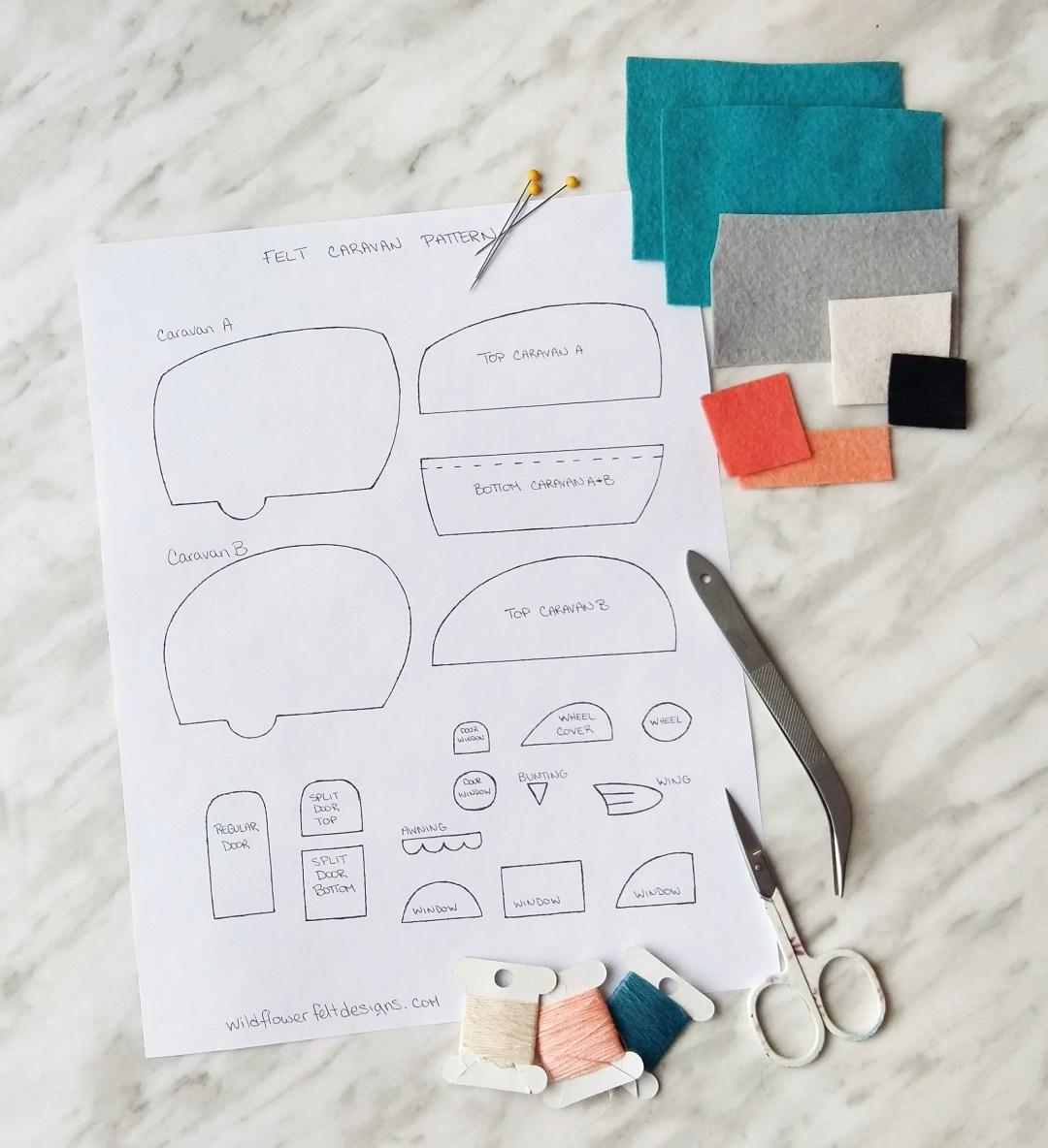 Materials you'll need to make cute felt caravans.