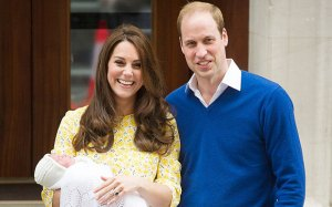 Princess Kate and Prince William leaving the hospital with baby Princess Charlotte