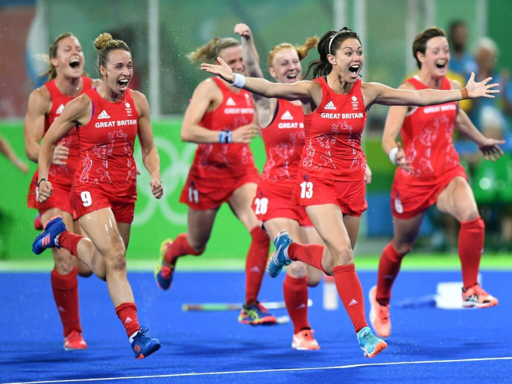 Great Britain's 2016 women's Olympic hockey team celebrating their win. Source: The Independent