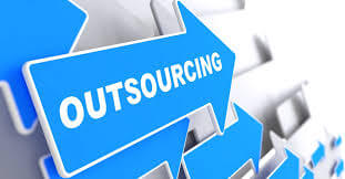 """Arrow pointing towards """"outsourcing"""""""