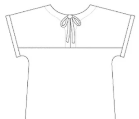 Back view Line Drawing of Tilly and the Buttons Stevie Top
