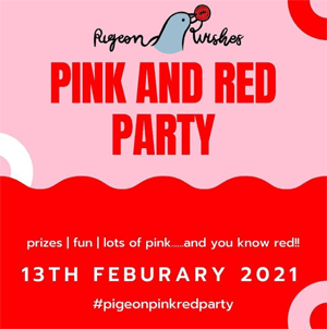 Pink and white background with pigeon Image displaying Pink and Red Party hosted by Pigeon Wishes on 12th February 2021