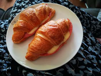 2 croissants with cheese and ham on a small plate placed on Sally's knee.