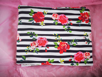 Black And White Jersey Striped with Roses On It