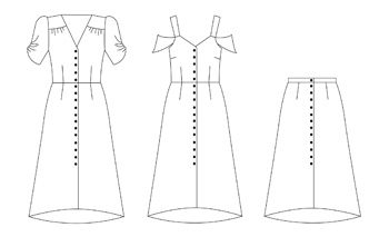 Line Drawing Of The Kew Dress By Nina Lee