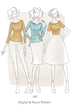 Sewing Pattern Front Cover of The Vielle Top By Jennifer Lauren Handmade