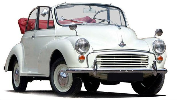 White Morris Minor Wedding Car
