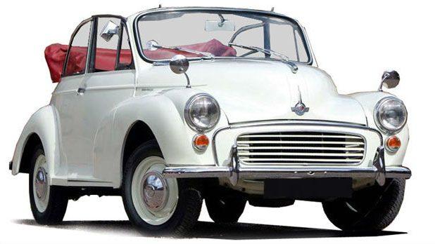 White Morris Minor Wedding Car