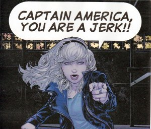Gwen Stacy telling everyone what she really thinks of Ultimate Cap