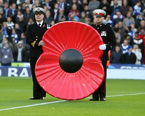 The military hold a giant poppy