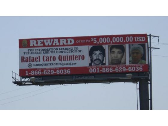 A new billboard has gone up next to I-5 near Commerce. This one offers a reward for information leading to the arrest of Mexican drug lord Rafael Caro Quintero (Photo: ALMA FAUSTO, STAFF)