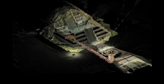 In the bowels of Teotihuacan, Mexican archeologist Sergio Gómez found large quantities of the silvery metal in a chamber at the end of a sacred tunnel sealed for nearly 1,800 years.  (Photo: Yahoo)