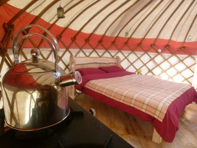 Inside one of our Yurts