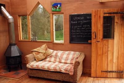 inside the communal cabin at the yurt farm