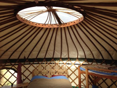 Inside 21 foot yurt