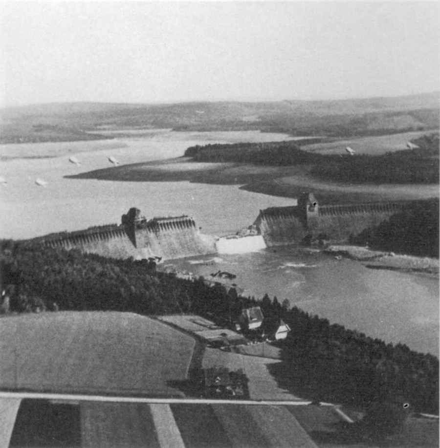 """The Eder Dam after being destroyed by """"Upkeep"""" bouncing bombs"""