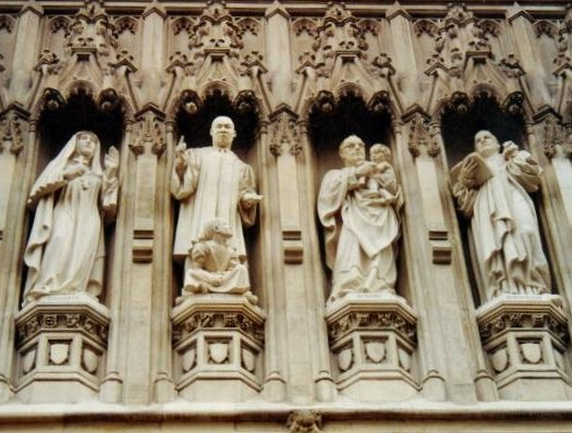 Gallery of 20th Century Martyrs at Westminster Abbey. From left, Mother Elizabeth of Russia, Martin Luther King, Oscar Romero and Dietrich Bonhoeffer. Bonhoeffer is commemorated as a theologian and martyr by the Evangelical Lutheran Church in America, the Church of England and the Church in Wales. His life as a pastor and theologian of great intellect and spirituality, who lived as he preached and his martyrdom in opposition to Nazism, exerted great influence and inspiration for Christians across broad denominations and ideologies including figures such as Martin Luther King Jr. and Archbishop Desmond Tutu.