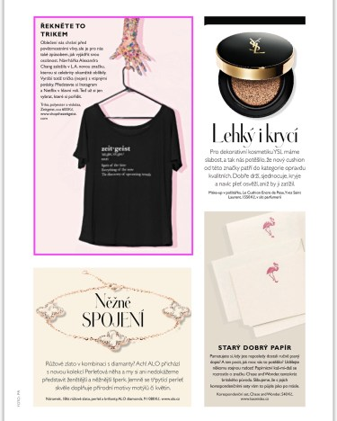 """""""The Suzanne"""" tee by The Zeitgeist featured in the September Issue of InStyle Czech Republic."""