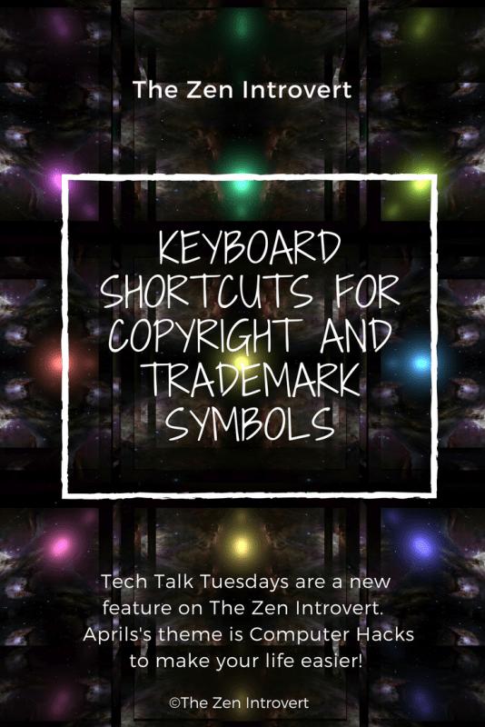 Keyboard shortcuts for Copyright and Trademark Symbols