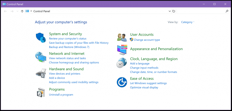 Accessing The Control Panel In Windows 10