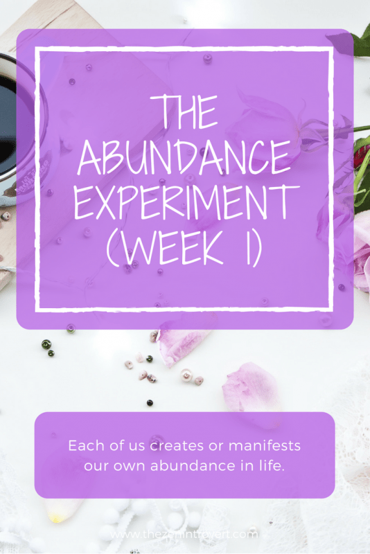 The Abundance Experiment Week 1 - Testing the Theory that we make our own abundance.